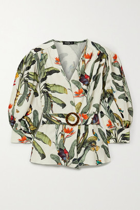 PatBO Belted Printed Voile Blouse - Ecru
