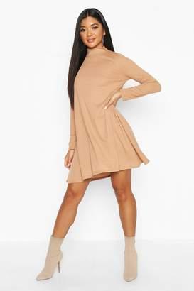 boohoo Rib High Neck Long Sleeve Swing Dress