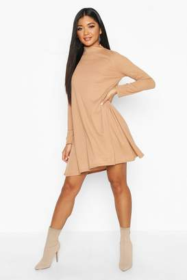 boohoo Rib High Neck Long Sleeve Swing Dress