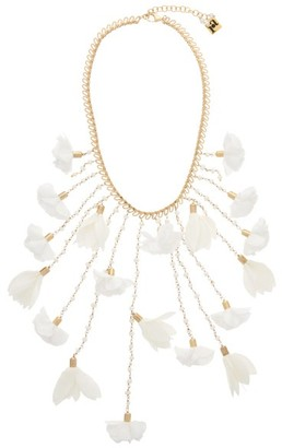Rosantica Sentiero Pearl And Flower Chain Necklace - Womens - White