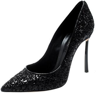 Casadei Black Metallic Glitter Pointed Toe Pumps 38