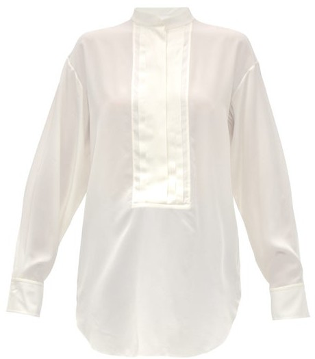 Chloé Pleated Plastron Silk Crepe Blouse - Womens - Ivory