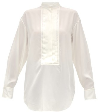 Chloé Pleated Plastron Silk-crepe Blouse - Womens - Ivory