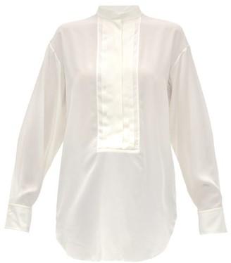 Chloé Pleated Plastron Silk-crepe Blouse - Womens - Ivory