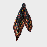 Paul Smith Men's Black 'Vintage' Print Square Silk Scarf