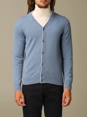 Eleventy Sweater Platinum Cardigan In Wool With Contrasts