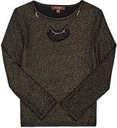 Imoga Long-Sleeve Necklace T-Shirt-BLACK