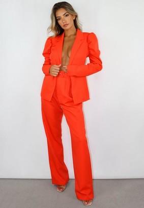 Missguided Orange Co Ord Belted Cigarette Pants