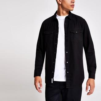 River Island Mens Black double pocket regular fit denim shirt