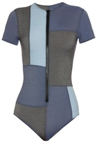 Lisa Marie Fernandez Farrah patchwork-denim swimsuit