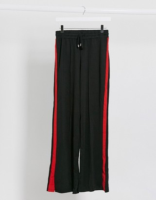 Brave Soul wide leg relaxed trousers in black with red stripe