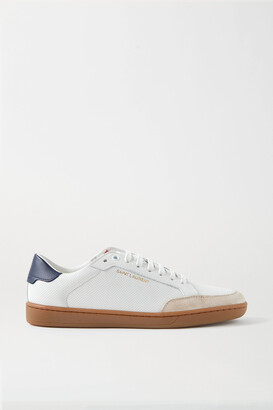 Saint Laurent Court Classic Logo-print Suede-trimmed Perforated Leather Sneakers