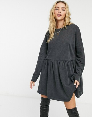 Noisy May sweat mini dress in black