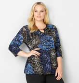 Avenue Abstract Texture Top with Keyhole Neck