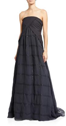 Brunello Cucinelli Strapless Linen/Silk Monili Gown