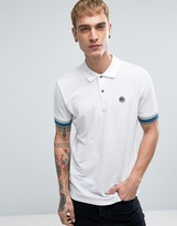 Pretty Green Tedburn Pique Polo With Knit Stripe Cuffs In White