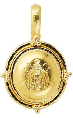 Elizabeth Locke Gold Hammered 19K Yellow Gold Honey Bee Medium Pendant