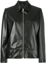 Lanvin collared leather jacket - women - Lamb Skin/Acetate/Cupro - 42