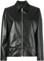 Lanvin collared leather jacket - women - Lamb Skin/Cupro/Acetate - 42