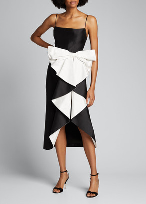 Rasario Draped Silk Midi Cocktail Dress with Cascading Bow