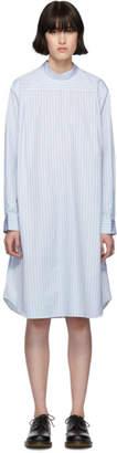 Comme des Garcons White and Blue Poplin Stripe Shirt Dress