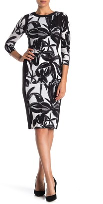 Maggy London Floral 3/4 Sleeve Sheath Dress