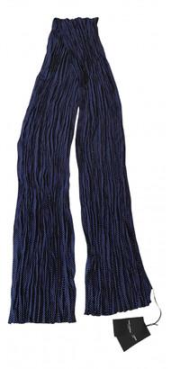 Saint Laurent Navy Silk Scarves & pocket squares