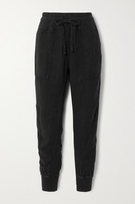 James Perse Lyocell And Linen-blend Track Pants - Black