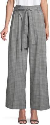 Laundry by Shelli Segal Glen Plaid Wide-Leg Belted Pants
