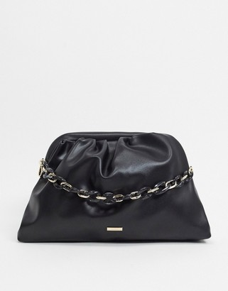 Aldo Sabu slouch clutch bag with chain handle in taupe