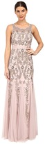 Adrianna Papell Sleeveless Illusion Yoke Gown with Godets Women's Dress