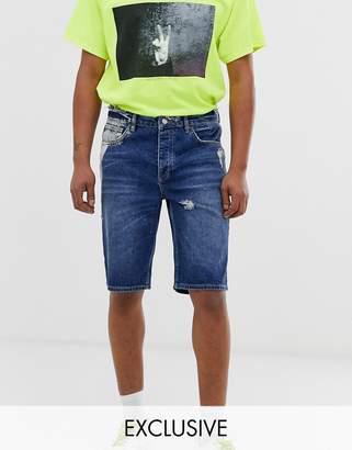 Reclaimed Vintage denim shorts with distressing and bleaching-Blue
