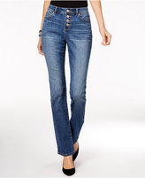 INC International Concepts Curvy Button-Fly Gibson Wash Bootcut Jeans, Only at Macy's