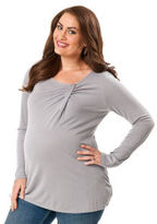 Motherhood Plus Size 3/4 Sleeve Scoop Neck Side Ruched Maternity T Shirt