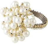 Christmas Shop Décor-Napkin Ring Pearl White W/Gold
