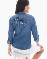 Chico's Bird-Embroidered Bomber Jacket