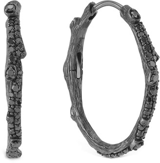 Michael Aram Enchanted Forest Black Twig Hoop Earrings w/ Black Diamonds