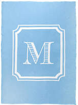 One Kings Lane Custom Knit Monogram Cotton Throw - Light Blue