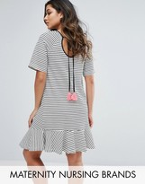 Gebe Maternity Nursing Striped Shift Dress With Fluted Sleeve And Tassel Detail