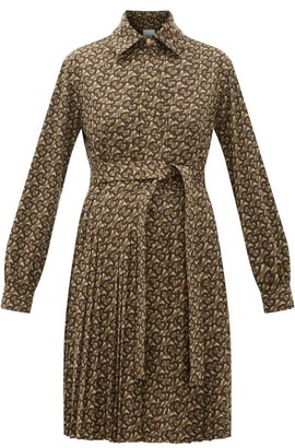 Burberry Fedora Pleated Tb-monogram Dress - Womens - Brown