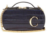 Chloé The C Mini Croc-effect Leather Cross-body Bag - Womens - Navy