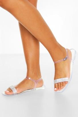 boohoo Clear Diamante Strap Square Toe Jelly Sliders