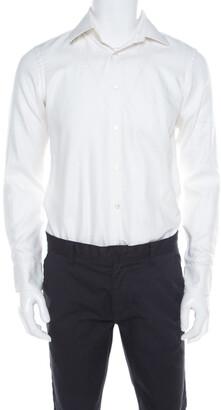 Boss By Hugo Boss Hugo by Hugo Boss White Herringbone Long Sleeve Regular Fit Shirt S
