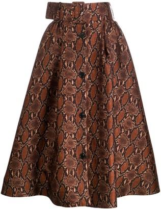 MSGM Snakeskin-Print Full Skirt