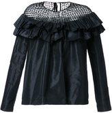 Isa Arfen semi sheer panel ruffle blouse