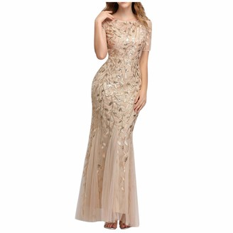 Fhuuly Women's Long Embroidery Floral Print Mesh Patchwork Mermaid Hem Evening Party Dresses Short Sleeve Sexy Bodycon Long Skirt Maxi Dress for Ladies (Gold L)