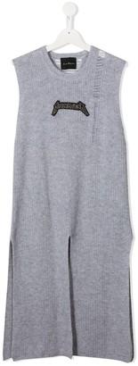 John Richmond Junior TEEN distressed sleeveless sweater dress