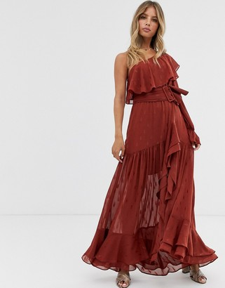 Forever New high low asymmetric belted maxi dress in rust-Multi