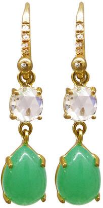 Irene Neuwirth Diamond and Chrysoprase Teardrop Yellow Gold Earrings