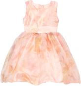 Peach Translucent Flower Dress - Infant Toddler & Girls